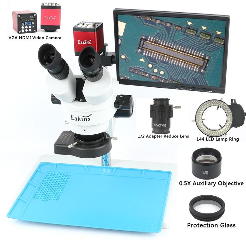 Simul Focale Trinoculare Stereo Microscopio 3.5X 7X 90X + 13MP 720 P HDMI VGA Video Display LCD Della Fotocamera Per Fix di riparazione Del Telefono di Saldatura