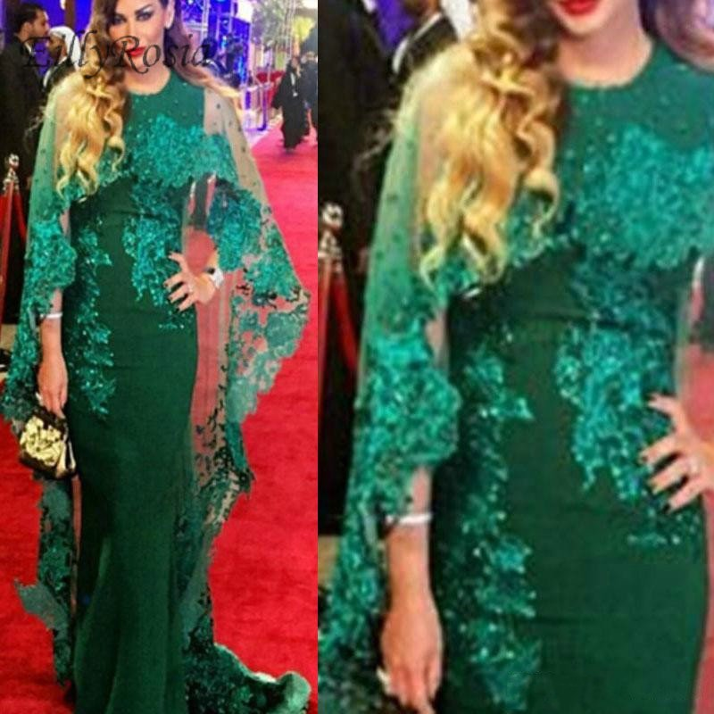 5a348f6d2f5 Detail Feedback Questions about Green Arabic Evening Dresses with Cape Lace  Appliques Sequins Mermaid Formal Mother of the Bride Dress for Wedding  Party ...