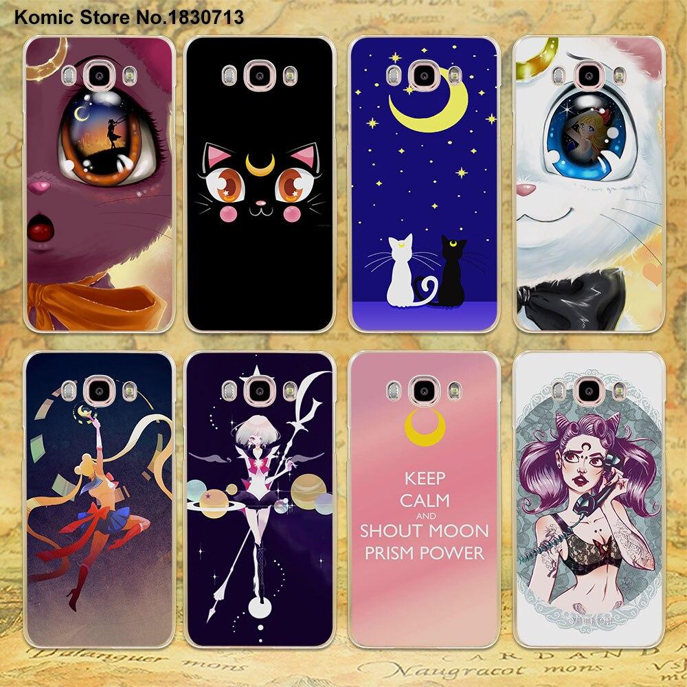 anime sailor moon lune cat design clear transparent hard Case for Samsung galaxy J7 2016 J5(2017 US) J3 J2 J1 2016