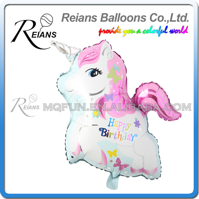 Cute unicorn Helium balloons happy birthday horse kids toys inflatable foil balloons uni ...