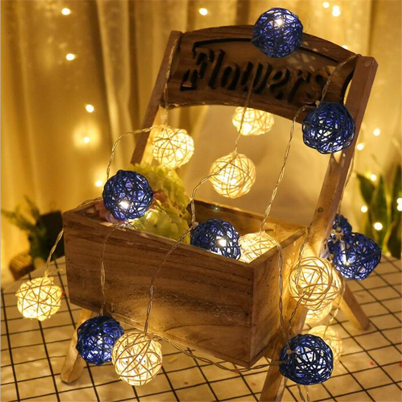 Waterproof 4m 20LED Dark Blue White Rattans Wicker Balls LED String Light Fairy Outdoor Light Wedding Party Decor EU Plug AC220V