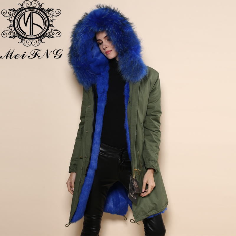 Parka Jacket Blue Fur