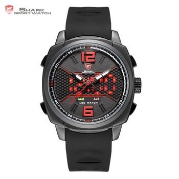 b2e36e166ef4 Tiburón de arrecife deportivo reloj negro rojo de nido de abeja de esfera  con correa de silicona suave LED Dual movimiento Digital relojes  SH488