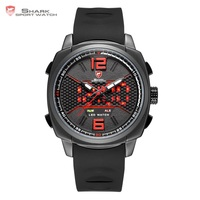 Whitetip Reef Shark Sport Watch Black Red Honeycomb Dial Face With Soft Silicone Strap LED Dual Movement Digital Watches /SH488