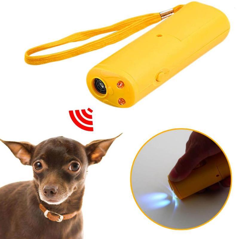 New Arrive LED Ultrasonic Dog Repeller Portable 3 In 1 Ultrasound Repeller,Anti Barking Dog Training Device Flashlight For Pet
