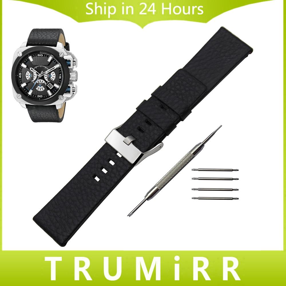 Top layer Genuine Leather Watchband 1 1 as Original for Diesel DZ Men Women Watch Band