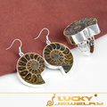 Wholesale Fashion Jewelry  Handmade Natural Ammonite Sets (Ring & Earring Sets) F066 Free Shipping