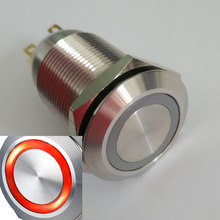 19mm 24V red ring led push button switch with Momentary 1NO1NC 30 mm diameter momentary type led ring illuminated metal push button switch 1no1nc waterproof