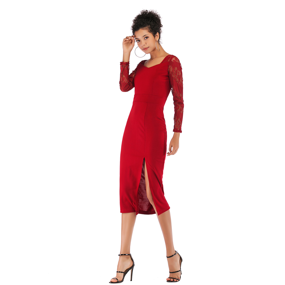 Female V Neck Long Sleeves Lace Stitching Sexy Tight Buttocks Split Dress Women 39 s Solid Color Figure Flattering Pencil Dresses in Dresses from Women 39 s Clothing