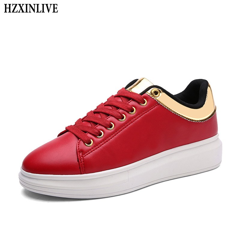 HZXINLIVE 2018 Women Vulcanized Shoes Sneakers Couple Lace Up Red Basket Shoes Breathable Walking Bling Leather Casual Flats
