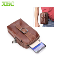 Universal Crazy Horse Texture Phone Bag Genuine Leather Men Vertical Style Case Waist Bag With Belt