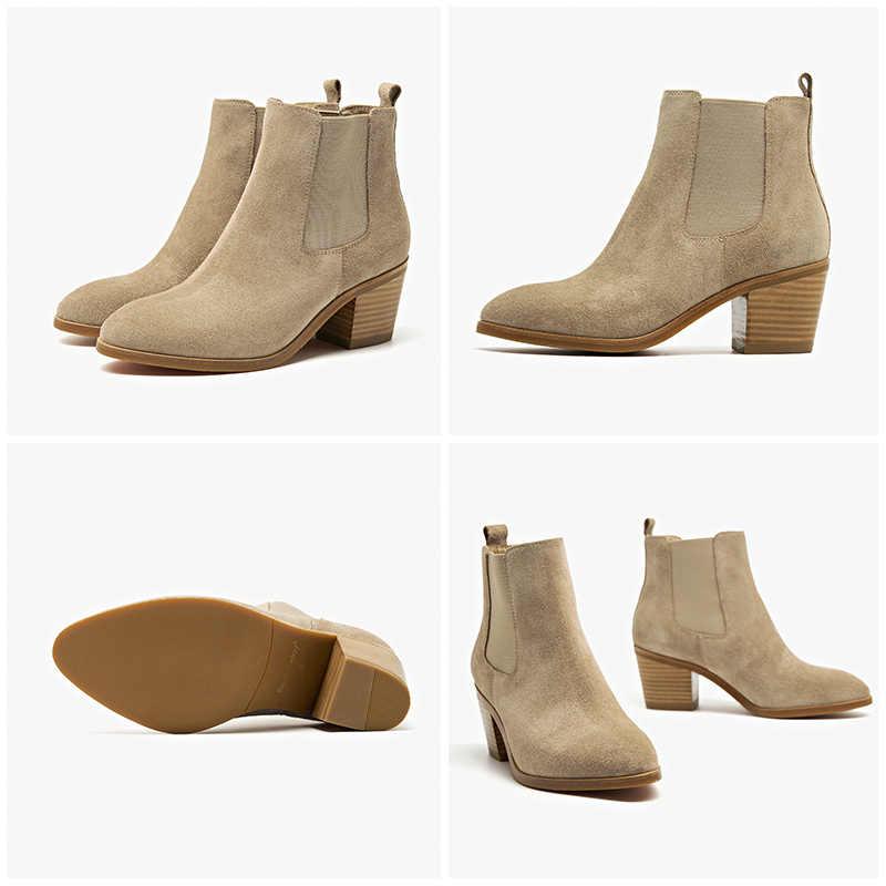 BeauToday kadın Chelsea çizmeler hakiki deri İnek süet sivri burun ayak bileği uzunluğu yüksek topuk bayan ayakkabıları el yapımı 03341
