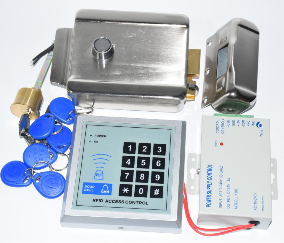 Rfid Gate Door Lock Access Control System Kit Set + Electric Control Door Lock + Rfid Keypad Code+5pcs Tags+5 Pcs Pvc Cards