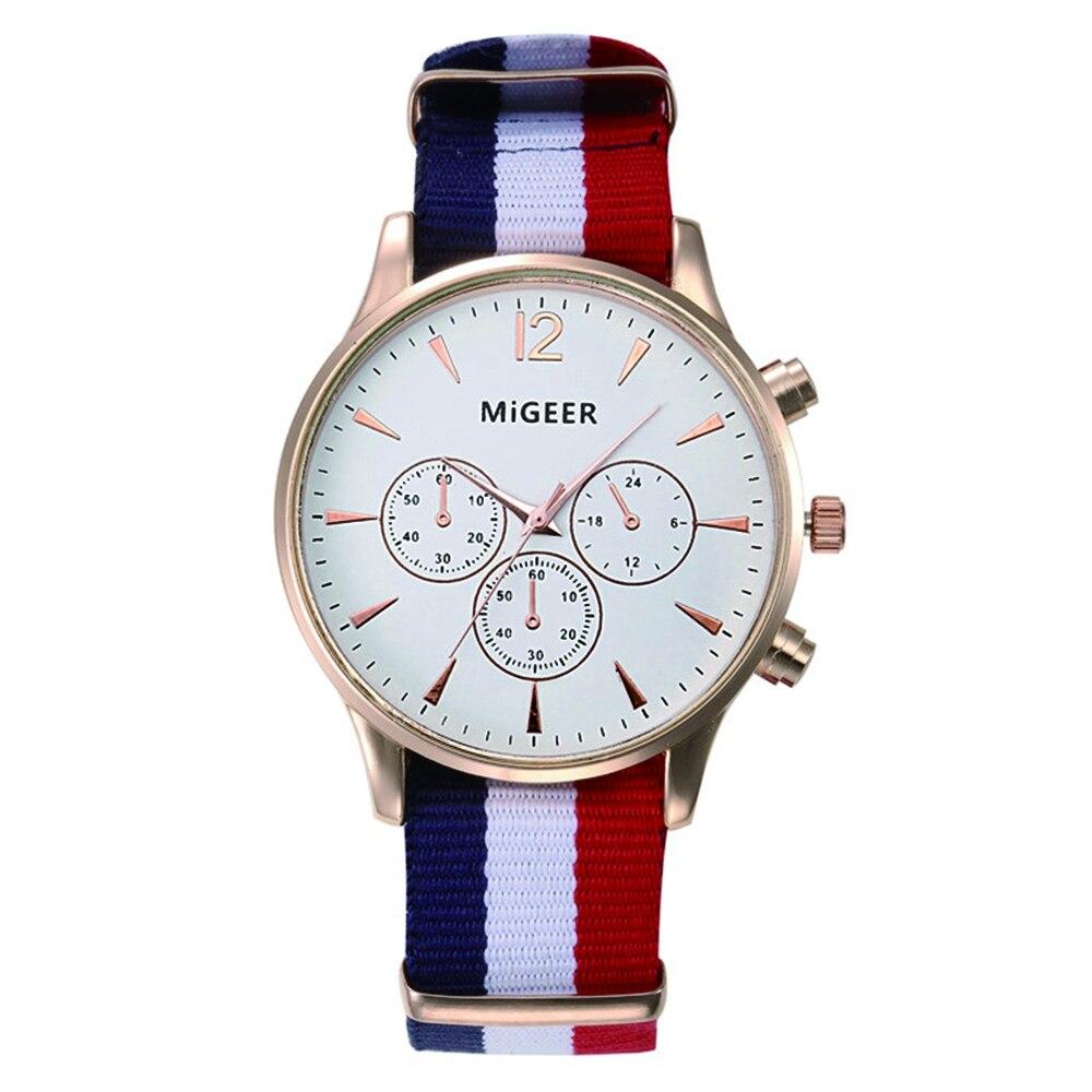 Men Quartz Watch Clock Bracelet Clasp Classic Stripe Nylon Canvas Strap Analog Creative Cost Watch Montre Homme