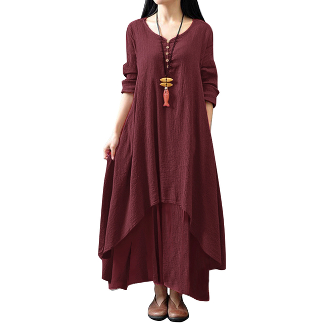 Anself Fashion Women Casual Loose Dress Solid Color Long Sleeve Autumn Oversized Ladies Dresses Big Size Boho Long Maxi Dress