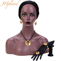 Ethiopian Jewelry Sets Color Stone Pendant Necklaces Earrings Ring Ethiopia Gold Color Africa Bride Wedding Eritrea
