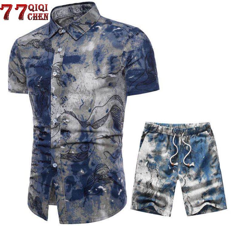 Tracksuit Men Casual Summer Men's Set Mens Floral Shirt + Print Beach Shorts Shirts Shorts Pants Two Piece Suit Plus Size 5XL
