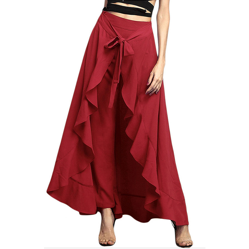 Hot Sale Elegant Fashion Bow   Wide     Leg     Pants   Women   Pants   Lotus Ruffle Irregular Skirt Trousers High Waist Lace Up   Pants