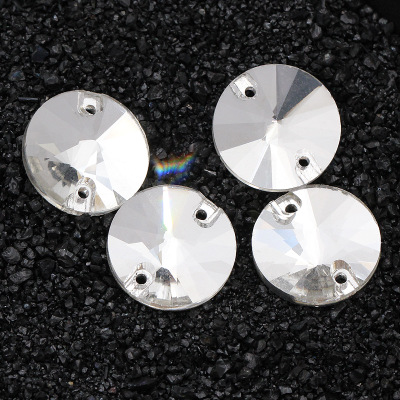 White Crystal AB satellite shape Glass Crystal sew on rhinestones with TWO holes Diy wedding dress accessories Free shipping in Rhinestones from Home Garden