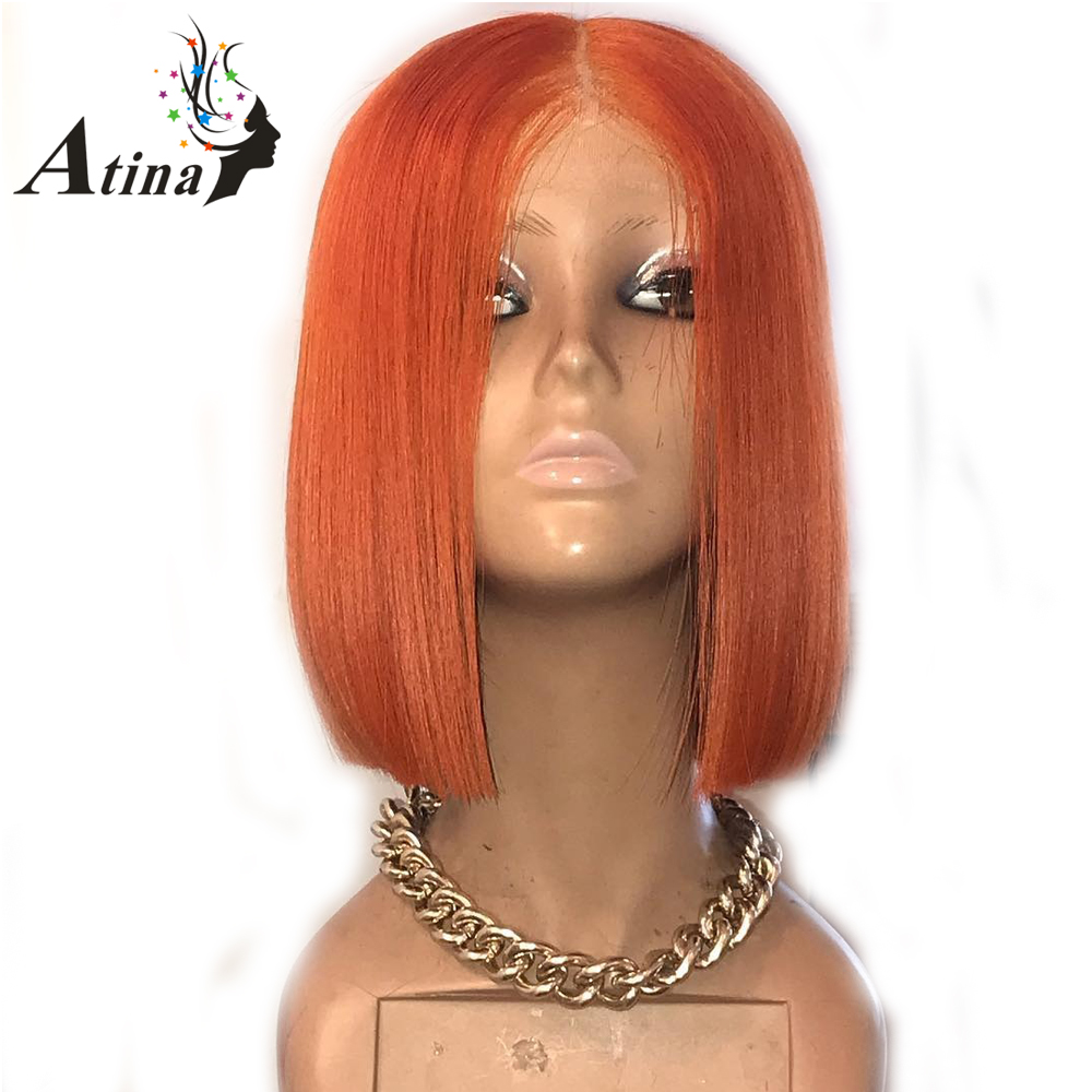 13 X 6 Deep Part Lace Front Orange Human Hair Colored Wigs For Women Remy Pre Plucked Hair Short Bob Wigs With Baby Hair Atina