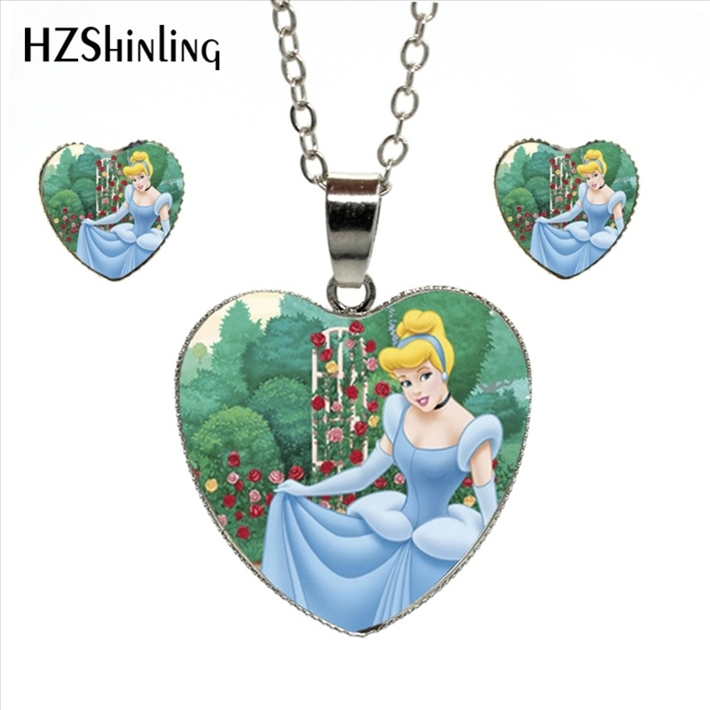 HES-020 Newest Cinderella Princess Jewelry Set Beautiful Cinderella Necklace and Earrings Dream Quote Glass Dome Heart Necklace