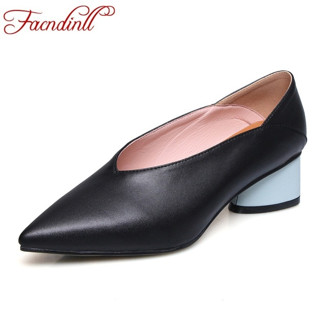 FACNDINLL new shoes woman pumps 2019 spring summer fashion med square heels pointed toe black beige yellow dress office shoes