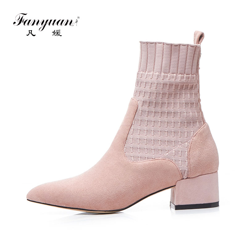 Fanyuan Fashion Pointed Toe Slip-On Riding boots Solid High heel Stretch Socks boots Women shoes Genuine Leather Mid-Calf Boots