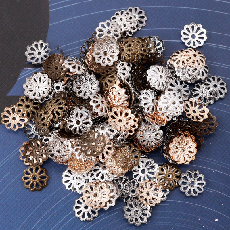 500 Pieces Metal Filigree Flower Bead Caps Spacer Beads Jewelry Making Findings for DIY Necklace Bracelet Earrings Craft 9mm