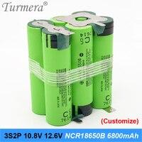 3s2P battery 18650 pack ncr18650b 6800mah 10.8v 12.6v welding solder battery for screwdriver tools battery customized battery