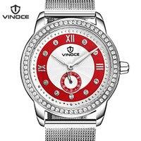 VINOCE 2019 Watches Women Luxury Diamond Luminous Top Brand Relogio Feminino Genuine Leather Strap Women'S Watches #V6332502L