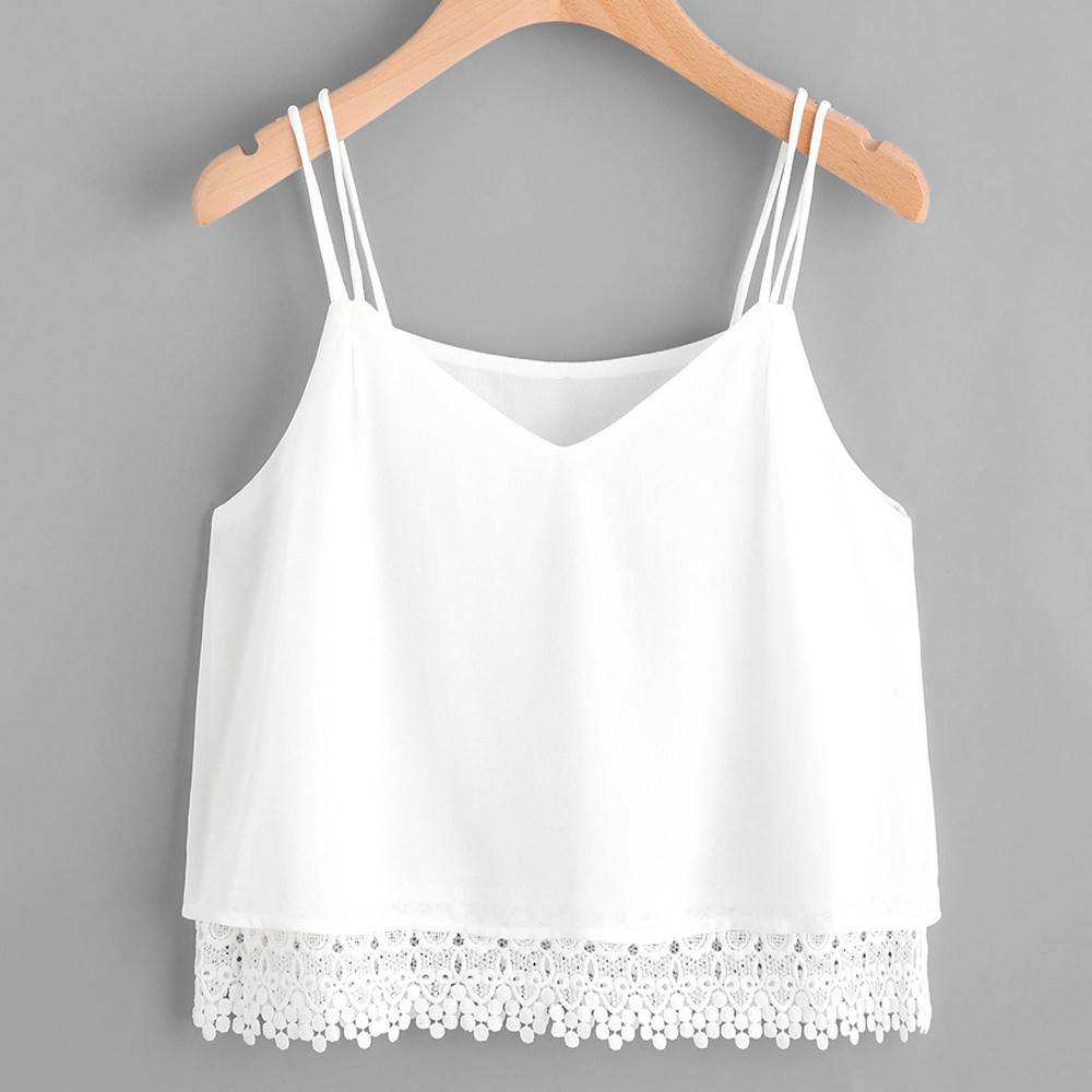 Tank     Top   Womens Clothing V-Neck Solid Sleeveless Lace Patchwork Beach White   Top   Camiseta Tirantes Mujer