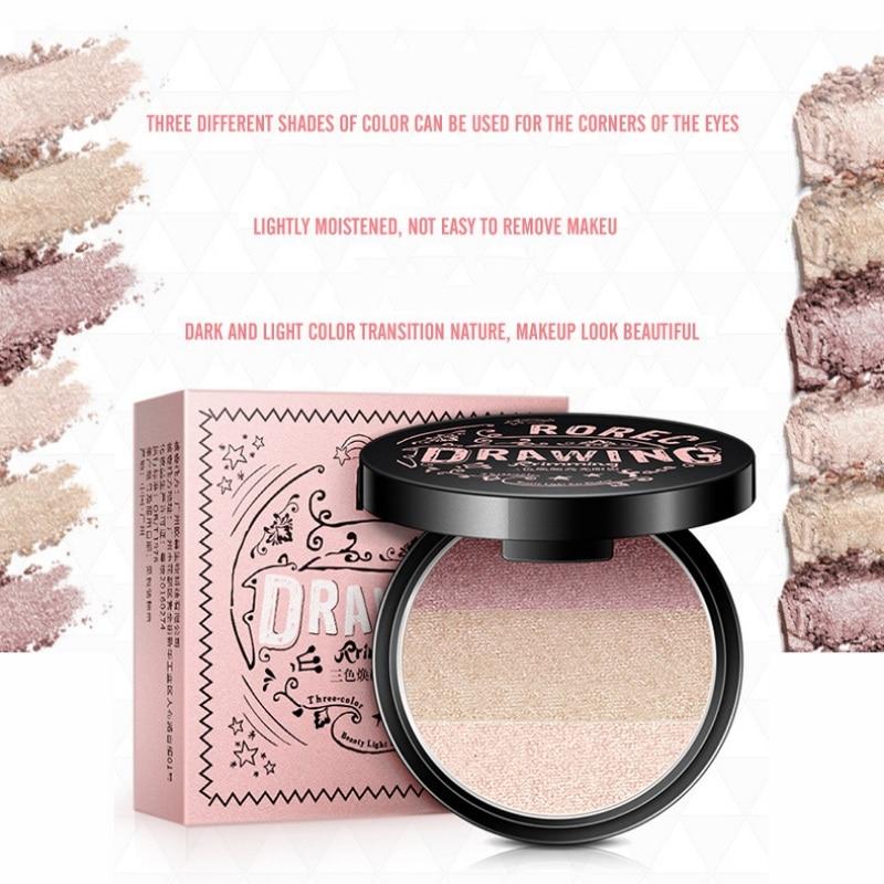 3 Color Mini Eye Makeup Palette Earth Color Shimmer Glitter Eyeshadow Powder