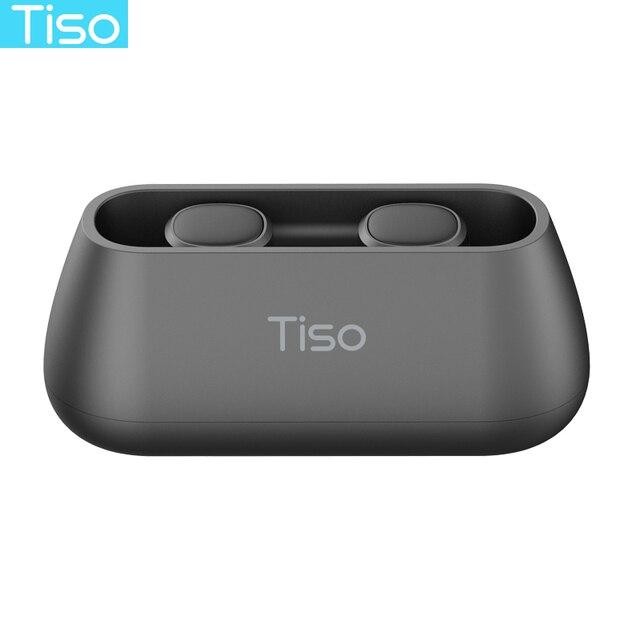 Tiso i4 TWS headphones 5.0 Bluetooth wireless earphones magnetic design built-in dual mic and 500mAh power bank charging box 5