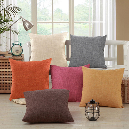 Vintage Cotton Solid color Linen Pillow Case Sofa Throw Cushion Cover Home Decor
