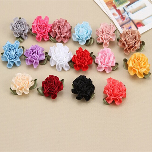 Unfinished Satin Ribbon Roses Flower Appliques Scrapbooking Sewing