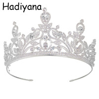 Hadiyana Fashion European Styles Silver Crown Hair Jewelry CZ Tiaras Crowns For Bride Wedding Party Women Jewelry Design HG6022