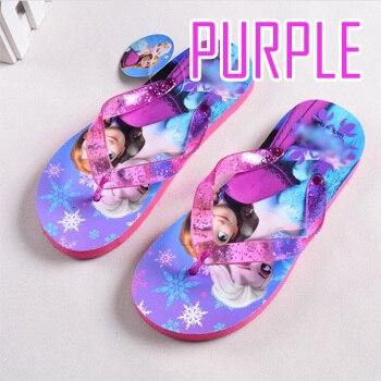 Новинка; летние детские тапочки с героями мультфильмов; модные детские тапочки; Pantufas; домашние тапочки; пляжная обувь для девочек; сандалии для девочек; Size24-35 - Цвет: Фиолетовый