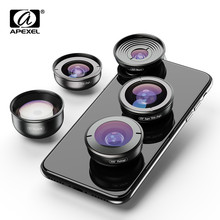 APEXEL 5in1 Mobile Phone Lens Case Kit Photography HD Fisheye Super Wide Angle 4K Macro Telescope Lens Set for Samsung iPhone
