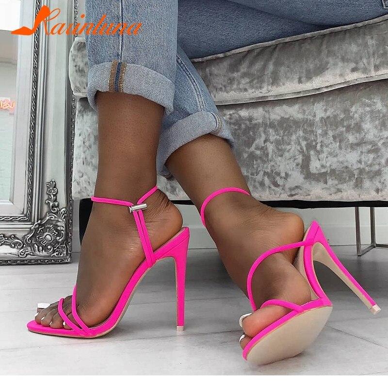 Correa Nueva Zapatos Tobillo Verano 11 Calidad De naranja Karinluna Tacón 5  Mujeres Las 2019 Claro ... 66f76629f335
