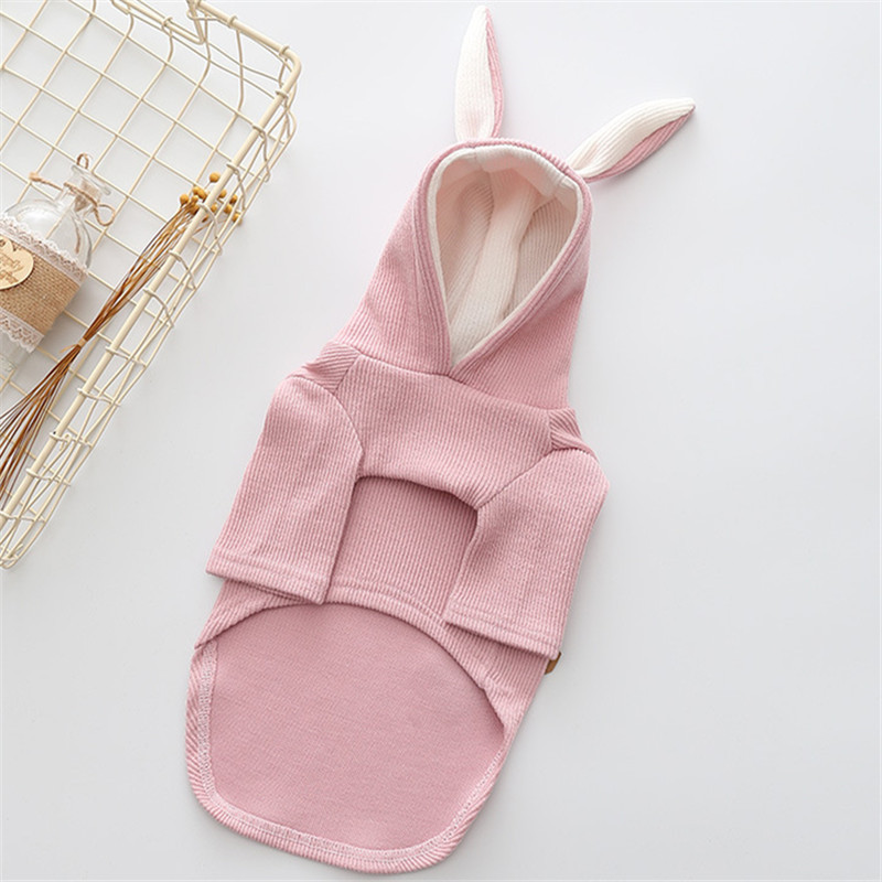New Autumn/winter Dog Clothes Wistiti Double Foot Fashion Thickening Hooded Rabbit Ears Dog Clothes Pet Supplies(gray,pink)