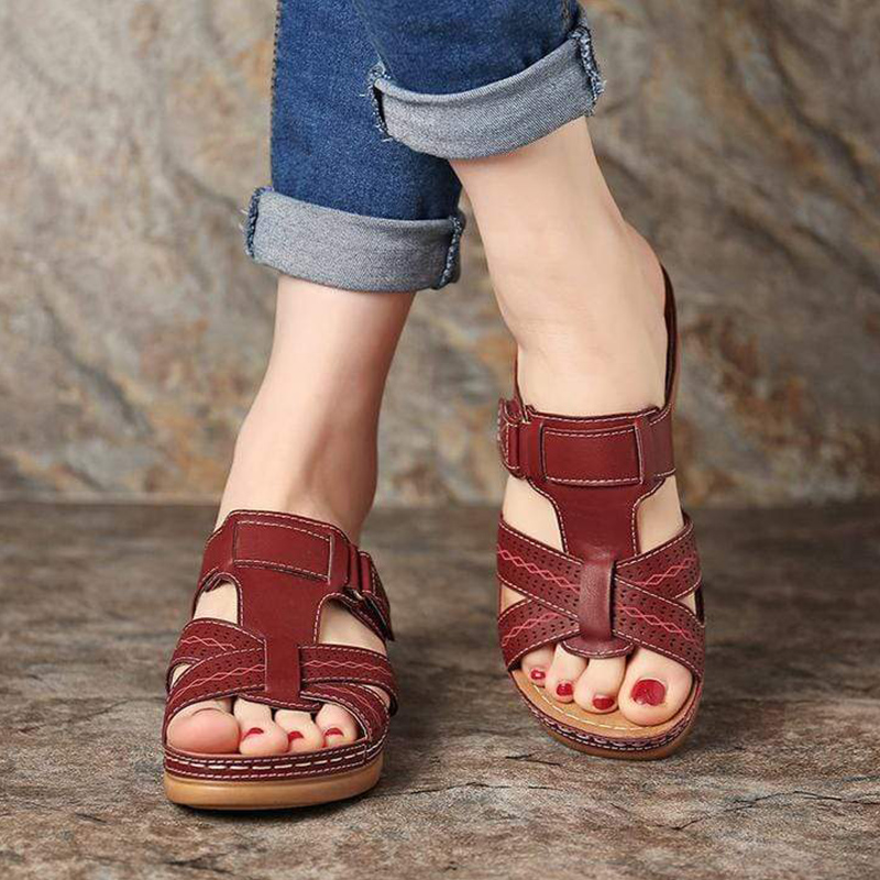 HTB19vEYabr1gK0jSZR0q6zP8XXa1 Women's Summer Open Toe Comfy Sandals Super Soft Premium Orthopedic Low Heels Walking Sandals Drop Shipping Toe Corrector Cusion