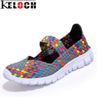 Keloch Women Casual Shoes 2017 Summer Breathable Handmade Women Woven Shoes Comfortable LightWeight Wovening Female Flats