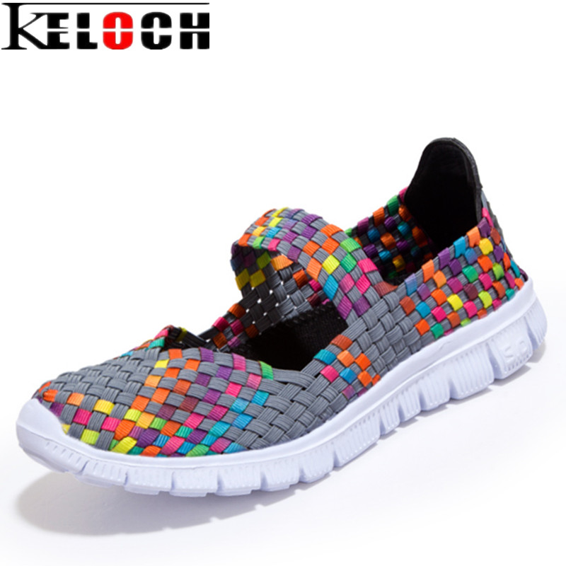 Keloch Women Casual Shoes 2017 Summer Breathable Handmade Women Woven Shoes Comfortable LightWeight Wovening Female Flats women s shoes 2017 summer new fashion footwear women s air network flat shoes breathable comfortable casual shoes jdt103