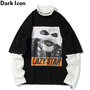 Image 4 - 다크 아이콘 가면 남자 드롭 어깨 힙합 티셔츠 긴 소매 거북이 가짜 2pcs 스트리트 남자 티셔츠 2019 새로운 가을
