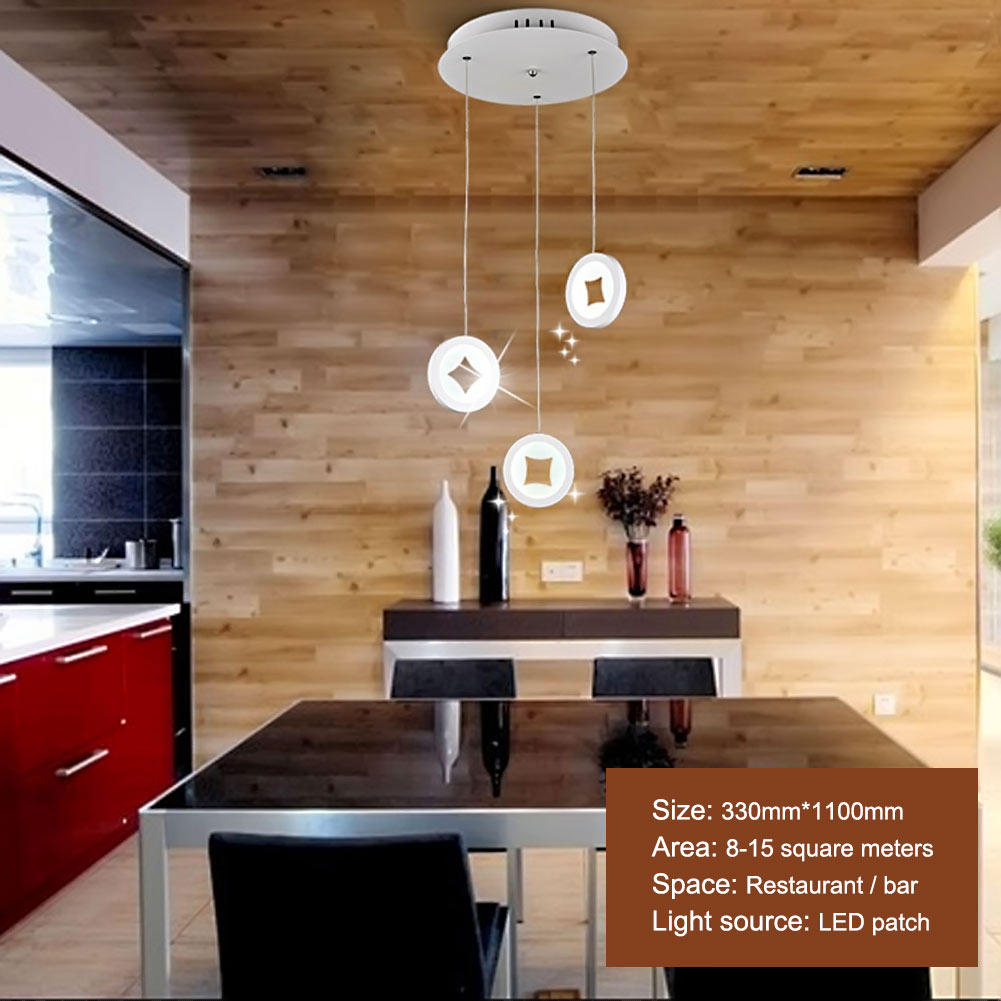 Lamp Light 1/3/4 Head Acrylic Home Dining Room Pendant Lamps Modern Contracted Restaurant Coffee Bedroom Pendant Lights