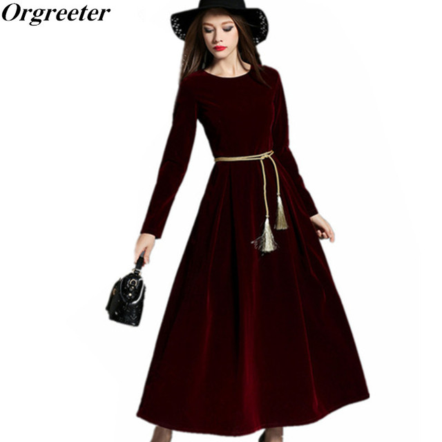Orgreeter Brand Style Autumn New Fashion Vintage Audrey Hepburn Party Dresses O Neck Swing