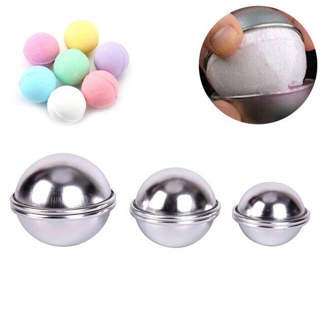 JETTING 6 unids/pack 3D bola esfera bombas Metal aleación de aluminio baño bomba molde DIY herramienta de baño accesorios molde creativo