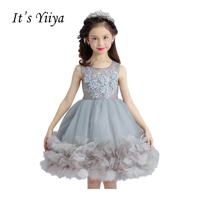 It's YiiYa Gray O-neck Sleeveless Zipper Illusion Embroidery Knee-length Ball Gown Princess   Flower     Girls     Dress   Communion TS259