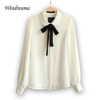 Fashion Design Elegant Bow Tie White Blouses Chiffon Peter Pan Collar Casual Female Shirt Lady Tops