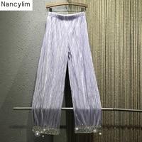 Summer Autumn Woman Loose Pants 2019 New Heavy Hot Drill Bead Loose Waist Girls Ladies Street Trousers Pants